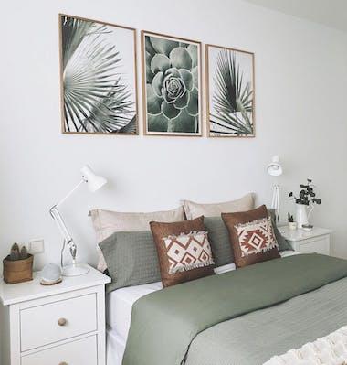 Zelené odstíny plakátů dekorace ložnice