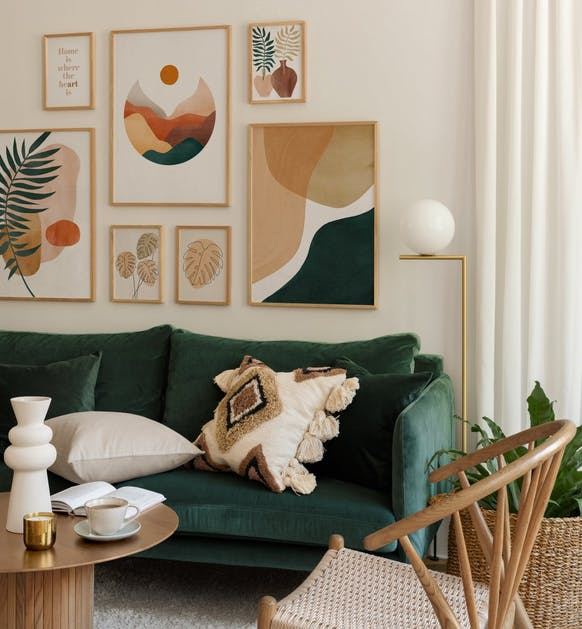 Botanical illustrations in watercolour and graphic art for living room