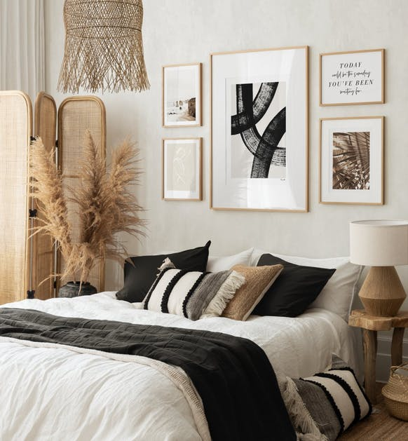 Neutral art posters and illustrations for bedroom