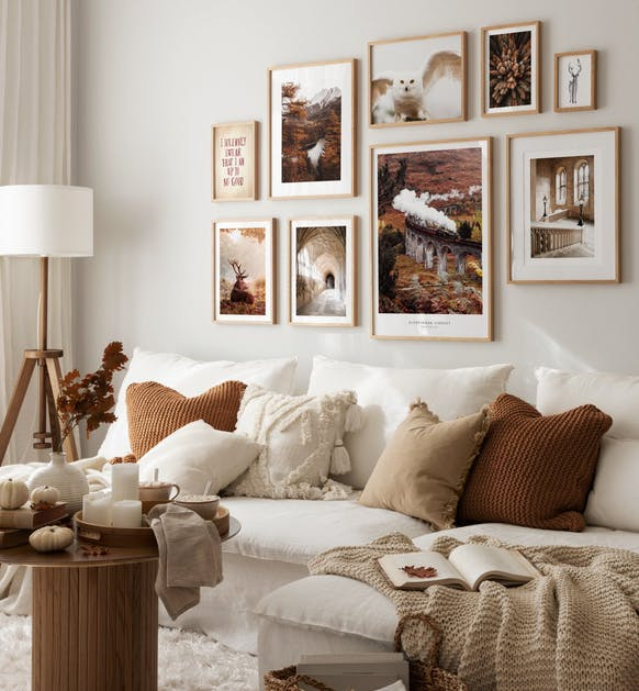 Warm cosy photography art and brown posters for living room