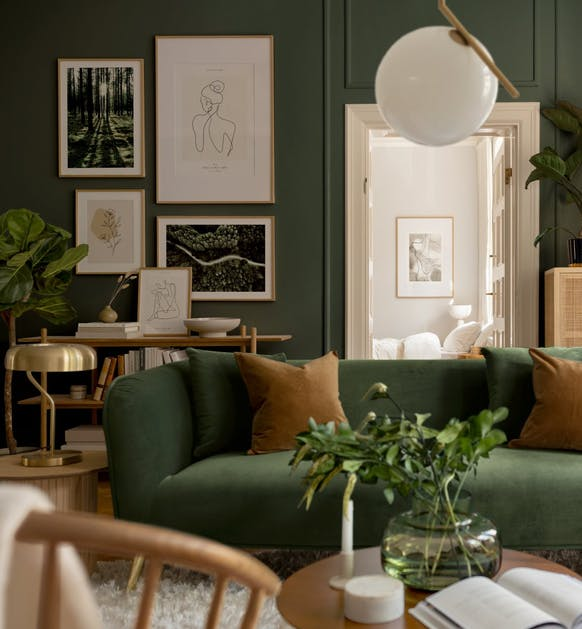 Dark green nature photographs and illustrations for living room