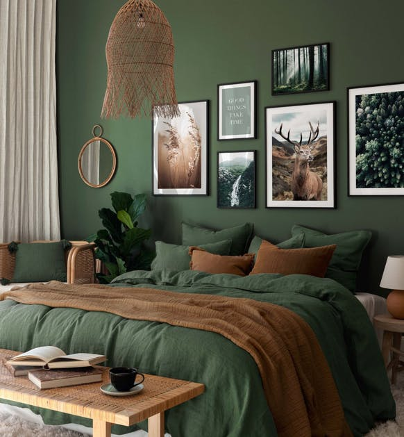 Green and brown nature posters and photographs for bedroom