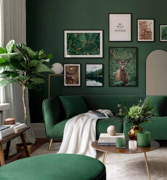 Green and brown photographs nature posters for living room