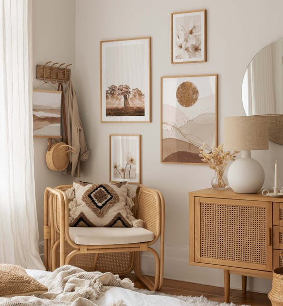 Beige photo art and illustrations for bedroom