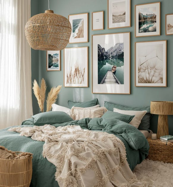 Serene nature photographs in beige and blue for bedroom